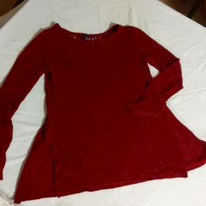 American Eagle Pullover With Lace Back Burgundy